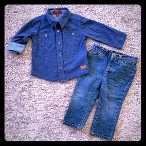 7 For All Mankind Infant Blue Denim Outfit